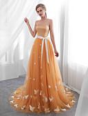 preiswerte Abendkleider-A-Linie Trägerlos Hof Schleppe Tüll Kleid mit Applikationen durch LAN TING Express
