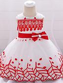 זול סטים של ביגוד לתינוקות-שמלה כותנה עד הברך ללא שרוולים פפיון / רקום אחיד / טלאים פעיל / בסיסי בנות תִינוֹק