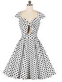 cheap Vintage Dresses-Women's Vintage A Line Dress - Polka Dot Patchwork White L XL XXL