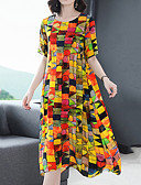 رخيصةأون فساتين قياس كبير-فستان نسائي كلاسيكي عصري شيفون أناقة الشارع راقي طباعة ميدي هندسي