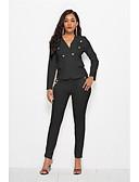 hesapli Suit-Kadın's Suit, Solid Gömlek Yaka Polyester Beyaz / Siyah M / L / XL