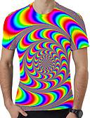 hesapli Erkek Tişörtleri ve Atletleri-Erkek Yuvarlak Yaka Tişört Desen, 3D / Gökküşağı Büyük Bedenler Gökküşağı / Kısa Kollu / Yaz