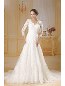 cheap Wedding Dresses-Mermaid / Trumpet V Neck Chapel Train Lace / Tulle Made-To-Measure Wedding Dresses with Lace by ANGELAG