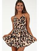 cheap Women's Jumpsuits & Rompers-Women's Street chic V Neck Brown Wide Leg Romper, Leopard Backless / Leopard Print / Fashion M L XL
