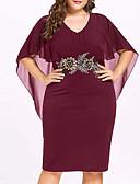 halpa Pluskokoiset mekot-Naisten Perus Tuppi Mekko - Yhtenäinen Polvipituinen