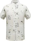 voordelige Herenoverhemden-Heren EU / VS maat - Overhemd Grafisch Opstaande boord Wit XL