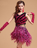 abordables Leggings para Mujer-Baile Latino Accesorios Mujer Entrenamiento / Rendimiento Modal Brillante / Volantes en Cascada / Borla Sin Mangas Vestido / Guantes
