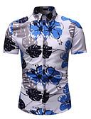 hesapli Erkek Gömlekleri-Erkek Pamuklu Klasik Yaka Gömlek Desen, Çiçekli / Grafik Temel / Sokak Şıklığı Kumsal AB / ABD Beden Gökküşağı / Kısa Kollu