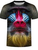 זול חולצות לגברים-3D / חיה / אנימציה טישרט - בגדי ריקוד גברים דפוס שחור