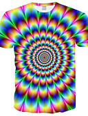 cheap Men's Tees & Tank Tops-Men's Plus Size T-shirt - Color Block / 3D / Rainbow Print Round Neck Blue XXXL
