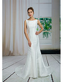 cheap Wedding Dresses-Mermaid / Trumpet Bateau Neck Court Train Satin Made-To-Measure Wedding Dresses with Beading by ANGELAG