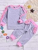 tanie Sukienki dla niemowląt-Dziecko Dla dziewczynek Podstawowy Solidne kolory Długi rękaw Regularny Bawełna Komplet odzieży Szary / Brzdąc