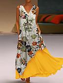 hesapli Maksi Elbiseler-Kadın's İki Parça Elbise - Çiçekli Maksi