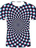povoljno Muške majice i potkošulje-Veći konfekcijski brojevi Majica s rukavima Muškarci Pamuk Geometrijski oblici / 3D / Karirani uzorak Okrugli izrez Print Crn