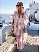 olcso Mini ruhák-Női Vékony A-vonalú Ruha Egyszínű Maxi V-alakú Dusty Rose