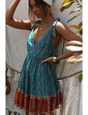 hesapli Bornozlar ve Pijamalar-Kadın's Temel Şifon Elbise - Çiçekli, Desen Mini