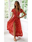 זול שמלות מקסי-צווארון V מקסי שמלה סווינג משוחרר בגדי ריקוד נשים