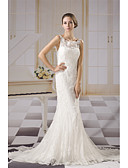 cheap Wedding Dresses-Mermaid / Trumpet Bateau Neck Chapel Train Lace / Tulle Made-To-Measure Wedding Dresses with Appliques / Lace / Ruched by ANGELAG