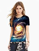 halpa Miesten t-paidat ja hihattomat paidat-Naisten Painettu Galaksi / Color Block / 3D Perus / Liioiteltu T-paita Uima-allas