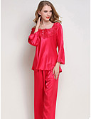 preiswerte Pyjamas-Damen Rundhalsausschnitt Anzüge Pyjamas Patchwork
