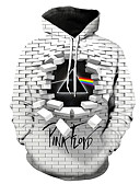 olcso Férfi pólók és pulóverek-Férfi Alkalmi / Utcai sikk Kapucnis felsőrész Mértani / 3D / Szöveg