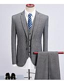 halpa Korukellot-Harmaa Yhtenäinen Räätälöity istuvuus Polyesteri Puku - Lovikäänne Yksirivinen kaksi nappia