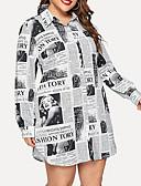 hesapli Büyük Beden Elbiseleri-Kadın's Büyük Bedenler Sokak Şıklığı Gömlek Elbise - Geometrik, Desen Gömlek Yaka Diz üstü