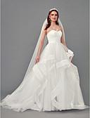 povoljno Vjenčanice-A-kroj Bez naramenica Srednji šlep Organza Izrađene su mjere za vjenčanja s Nabrano po LAN TING BRIDE®