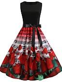 hesapli Vintage Kraliçesi-Kadın's Vintage A Şekilli Elbise - Batik, Kırk Yama Desen Diz-boyu