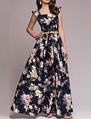 hesapli Print Dresses-Kadın's Sokak Şıklığı Zarif A Şekilli Kılıf Çan Elbise - Geometrik, Fırfırlı Kırk Yama Desen Maksi