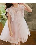 זול שמלות לילדות פרחים-גזרת A באורך  הברך שמלה לנערת הפרחים  - פוליאסטר / תחרה / טול ללא שרוולים עם תכשיטים עם תחרה על ידי LAN TING Express