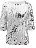 billige T-skjorter til damer-Store størrelser T-skjorte Dame - Ensfarget, Paljetter Gatemote Klubb Svart