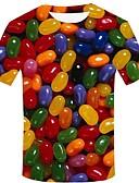 preiswerte Herren T-Shirts & Tank Tops-Herrn Geometrisch / 3D / Grafik - Street Schick / Übertrieben Übergrössen Baumwolle T-shirt, Rundhalsausschnitt Druck Regenbogen / Kurzarm