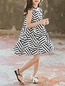 זול שמלות לבנות-שמלה עד הברך ללא שרוולים טלאים פסים שחור ולבן בסיסי / סגנון רחוב בנות ילדים / כותנה