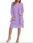 זול שמלות במידות גדולות-מעל הברך אחיד - שמלה שני חלקים מידות גדולות בגדי ריקוד נשים