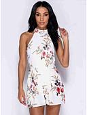 זול סרבלים ואוברולים לנשים-M L XL דפוס פרחוני, Rompers ישר לבן ורוד מסמיק חאקי סגנון רחוב בגדי ריקוד נשים