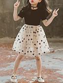 זול שמלות לבנות-שמלה מידי שרוולים קצרים שכבות מרובות / רשת / דפוס גלקסיה שחור מתוק / סגנון חמוד בנות ילדים / כותנה