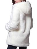 povoljno Ženske kaputi od kože i umjetne kože-Žene Dnevno Osnovni Zima / Jesen zima Normalne dužine Krzneni kaput, Jednobojni S kapuljačom Dugih rukava Umjetno krzno Ogroman Obala / Crn XXXL / XXXXL / XXXXXL