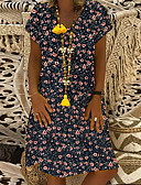 povoljno Print Dresses-Žene Elegantno Majica Haljina - Kolaž Print, Geometrijski oblici Midi