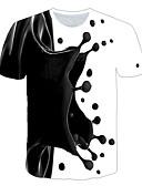 זול טישרטים לגופיות לגברים-3D צווארון עגול מידות גדולות טישרט - בגדי ריקוד גברים טלאים שחור / שרוולים קצרים