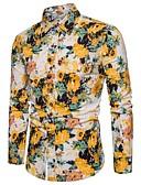 זול חולצות לגברים-קולור בלוק / גראפי צווארון קלאסי בסיסי מועדונים חולצה - בגדי ריקוד גברים דפוס צהוב / שרוול ארוך