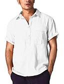 hesapli Erkek Gömlekleri-Erkek Gömlek Solid Siyah / Kısa Kollu