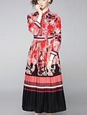 hesapli Print Dresses-Kadın's Temel Zarif A Şekilli Çan Elbise - Çiçekli, Bağcık Kırk Yama Midi