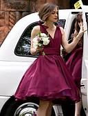 זול שמלות שושבינה-גזרת A צווארון V קצר \ מיני שיפון שמלה לשושבינה  עם סרט / סלסולים על ידי JUDY&JULIA