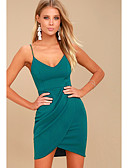 hesapli Mini Elbiseler-Kadın's Temel Kılıf Elbise - Solid Diz üstü