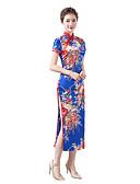 povoljno Stare svjetske nošnje-Odrasli Žene Kineski stil Cheongsam Za Zabava i večer Klub Uniforme 100% poliester Midi Cheongsam