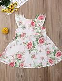 Χαμηλού Κόστους Σετ ρούχων για κορίτσια-Παιδιά Νήπιο Κοριτσίστικα Ενεργό Γλυκός Φλοράλ Στάμπα Πάνω από το Γόνατο Βαμβάκι Πολυεστέρας Φόρεμα Λευκό