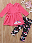povoljno Kompletići za dječake-Djeca Dijete koje je tek prohodalo Djevojčice Aktivan Osnovni Unicorn Print Dugih rukava Pamuk Komplet odjeće Blushing Pink