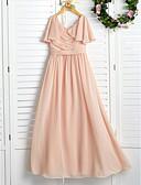 זול שמלות ערב-גזרת A עם תכשיטים מקסי שיפון שמלה לשושבינות הצעירות  עם סלסולים / קפלים על ידי LAN TING BRIDE® / מסיבת החתונה