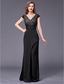 cheap Mother of the Bride Dresses-A-Line V Neck Floor Length Chiffon Mother of the Bride Dress with Beading by LAN TING BRIDE® / Sparkle & Shine